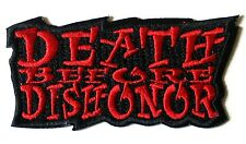DEATH BEFORE DISHONOR OUTLAW BIKER JACKET PATCH B/R