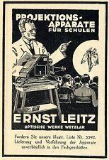 Ernst Leitz Opt. Werke Wetzlar PROJEKTIONS-APPARATE Historische Reklame von 1929