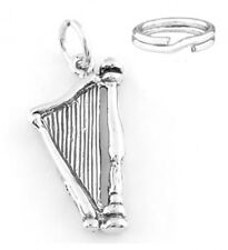 "STERLING SILVER  ""HARP"" CHARM WITH ONE SPLIT RING"