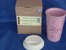 Pink Horizon of Hope Travel Cup Mug Hot Cold Longaberger 10 oz New Free Shipping