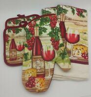 5 Piece Fine Wine Kitchen Decor Potholders, Oven mitt, Towels set
