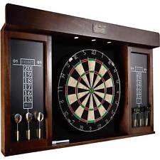 """Dartboard Set 40"""" Wood Darts Cabinet W/ Led Light 6 Tipped Dart Marker Eraser"""
