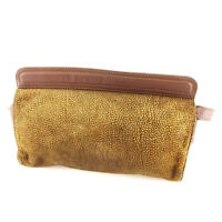 Borbonese Clutch bag Beige Brown Woman unisex Authentic Used D1745
