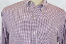 Brooks Brothers 15.5 Medium Purple Check Long Sleeve Dress Shirt Front Pocket