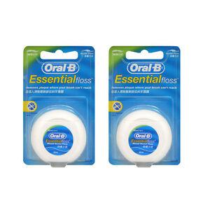 2ea Oral B Essential Floss Waxed Dental Floss Mint Flavor 50m, Shred-resistant