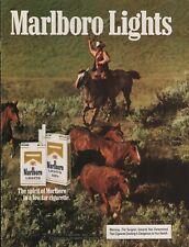 1982 Marlboro Lights Cigarettes Man Cowboy Horses Rodeo Print Ad