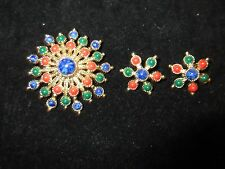 Sarah Cov Signed Vintage Set Brooch Pin Earrings Beaded Red Green Blue Gold Tone