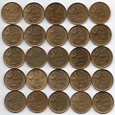 LOT DE 25 Pièces de 50 francs GUIRAUD 1952 de qualité