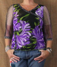 Anac By Kimi L size Top Purple Black Floral Net Sleeve Wrap Neck Fitted Shirt