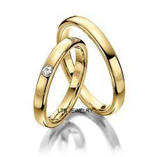MENS WOMENS SHINY 18K YELLOW GOLD DIAMOND HIS & HERS MATCHING WEDDING BANDS RING