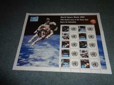 UNITED NATIONS NEW YORK PERSONALIZED SHEET, 2007 WORLD SPACE WEEK, MNH