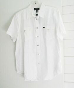 Polo Ralph Lauren Boys Western Short Sleeve Shirt White Sz M (10-12)  - NWT