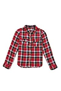Boohoo Kids Red Checked Long Sleeve Button Up Shirt Age 7-8years BNWOT Unisex