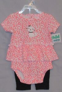 New Child of Mine Infant Girl's Two Piece Creeper Pants Kitty Leopard Print 3-6M