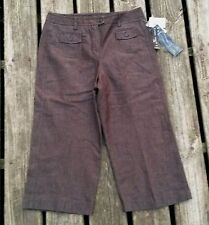 Larry Levine Career Dress Casual Crop Pants - Brown Stretch Women's Sz 8 NWT $50