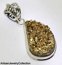 GOLDEN DRUZY PENDANT 925 STERLING SILVER ARTISAN JEWELRY COLLECTION Y221B