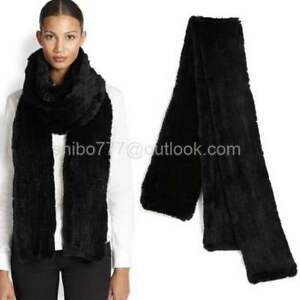 100% Real Rabbit Fur Knit Elegant black Ultra Long Scarf neckerc Fashion Classic