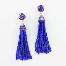 Royal Blue Boho Handmade Seedbeads Tassel Earrings Beaded Chandelier Long