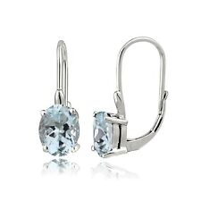 Sterling Silver 1.9ct Aquamarine Oval Leverback Earrings