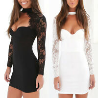 Fashion Women Sexy Lace Bandage Bodycon Evening Party Cocktail Short Dress