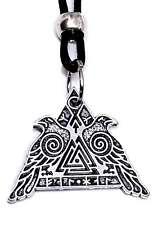 & Muninn Corded Beaded Necklace Viking Valknut Pendant Odins Ravens Huginn