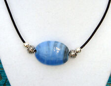 "Unique HandMade Necklace - Blue Hand Blown Glass on a 18"" Leather Choker NICE"