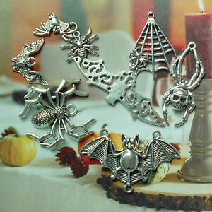 16PCS Retro Silver Mixed Lots Halloween Bat Spider Charms Pendant Jewelry Making