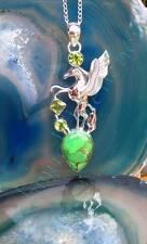 Colgante pegasus con alas caballo plata esterlina 925 Cobre Turquesa Verde