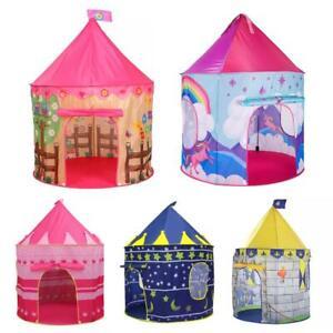 Kids Playhouse Unicorn Play Tent Pop Up Castle Princess Pink Blue Boys Girls