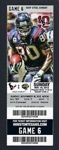 MATT SCHAUB 527 YARDS - 2012 NFL JAGUARS @ HOUSTON TEXANS FULL FOOTBALL TICKET