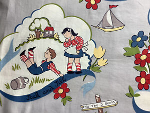 2 Vintage Mid Century Novelty Nursery Rhythm Cotton Fabric Curtains Drapes!