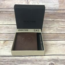 Kenneth Cole Reaction Mens Bifold Leather Wallet RFID Protection Brown New