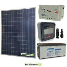 Kit placa solar panel fotovoltaico 200W 12V Batería 200Ah agm regulador de carga