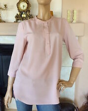 UNIQLO WOMEN PINK RAYON STAND COLLAR 3/4 SLEEVE BLOUSE NWT SIZE S