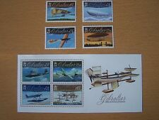 GIBRALTAR,2010,AVIATION CENTENARIES,4 VALS +1 M/S, U/M.CAT £26.EXCELLENT.