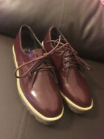 Burgundy Patent Leather Casual Shoes Size uk 3 eu 36 bnwot new ladies women girl