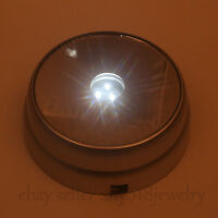 NEW 3D Round Crystal Glass Paperweight Stand Base with 3 LED White Light Silvery