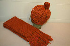 Nos Vtg 70s 2pc Brown Scarf Pom Stocking Hat Cap Knit Warmo Winter Ski Snow Set
