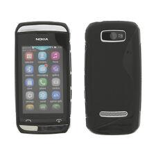 Rubber Case Tasche Handy Schutz f. Nokia Asha 305 Wave schwarz