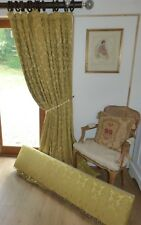 "SILK BROCADE CURTAINS & PELMET Blanket Interlined GOLD DAMASK  Ea 49""W 88""D 4 AV"