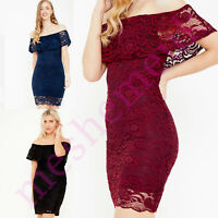 Ladies Lace Frilled Bardot Mini Dress Ladies Dress Size 8-18