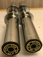 "Golds Gym Gold's Olympic Chrome Dumbbell Barbell Handle Pair 20"" 6lbs each"