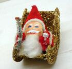 Vintage Christmas Putz Cardboard Glittered Sleigh with Santa Claus & Brush Tree
