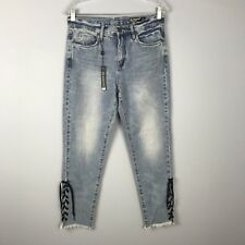41be31dc91d NEW Blank NYC Jeans 27 High Rise Tapered Blue Lace Up Ankle Raw Hem  Distressed