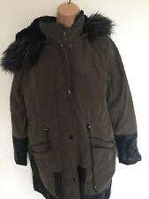 jacket size 14 brown and black fur hood pockets zip up Atmosphere