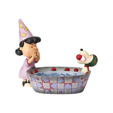 Peanuts by Jim Shore Snoopy and Lucy Halloween Candy Dish Apple Ace