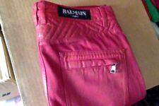 Skinny Balmain red biker waxed jeans/Pants size 30waist 100%Authentic.