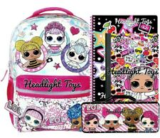 "1 LOL Surprise Doll 16"" Large Sparkle School Backpack Notebooks Pencil Case"