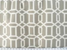 Drapery Upholstery Fabric 100% Cotton Geometric Chain Print - Ivory / Silver