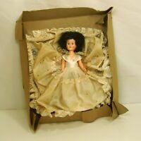 "Vintage 1950's Hard Plastic Brunette Doll in White Dress 7"" in Original"